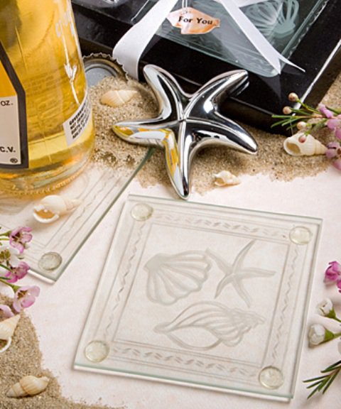 Lovely shell and starfish design set of coasters and bottle opener set