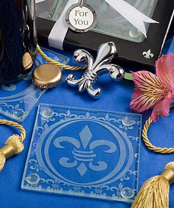 Fleur de lis design set of coasters and bottle opener set