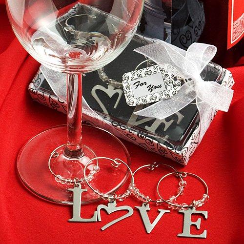 LOVE wine charm favors