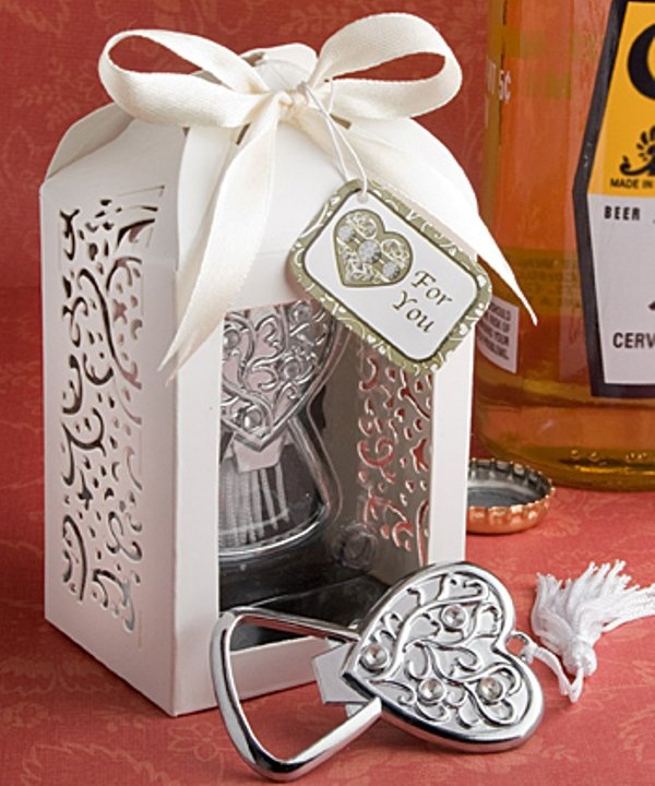 Spectacularly packaged heart bottle opener favor