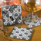 Damask design coaster sets