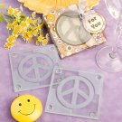 Peace sign design glass coaster set favors