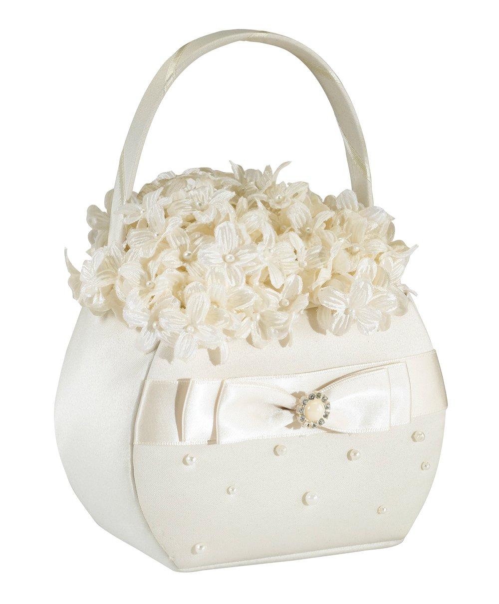 Scattered Pearl Flower Basket - Ivory