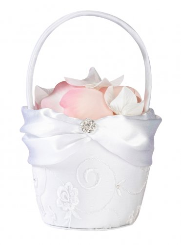 White Lace Flower Basket with Silver Flower Rhinestone