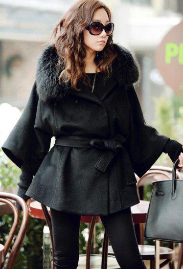 Beautiful Women's Coat Real Fox Fur Collar