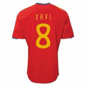 XAVI #8 SPAIN Home Soccer Jersey - M (w/ championship star)