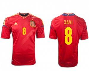 XAVI #8 SPAIN Home Soccer Jersey 2012 - M