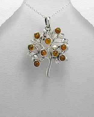 925 Silver and Amber Tree Pendant