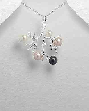 925 Silver and Freshwater Pearl Tree Pendant