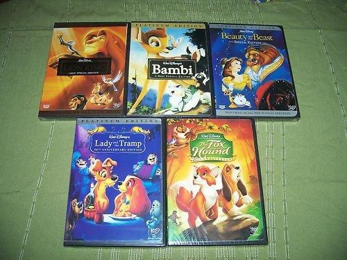Disney DVD Lion King Bambi Lady Tramp Beauty Beast Fox&