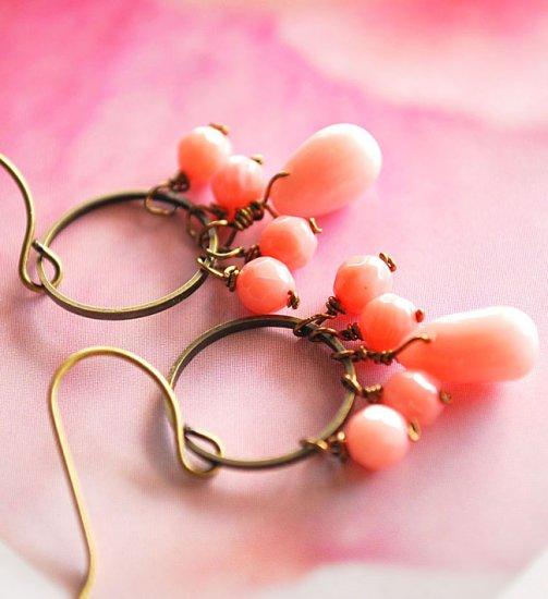 Dangling pink coral earrings