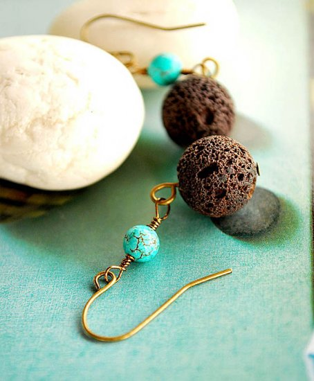Brownie Lava ball with tiny turquoise earrings
