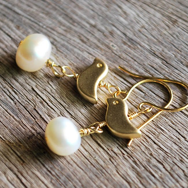 Mother bird's and her precious egg earrings