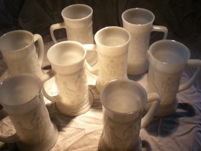 Federal milk glass Tankard Mugs