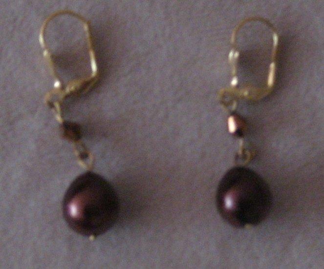 Brown Pearl Earrings