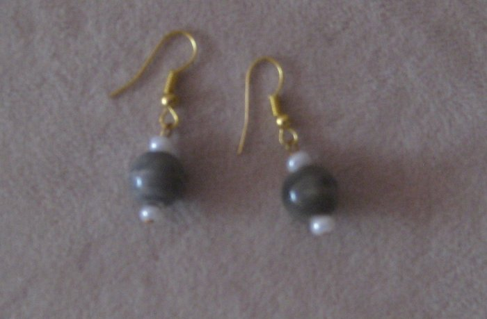 Vintage Earrings with Grey beads