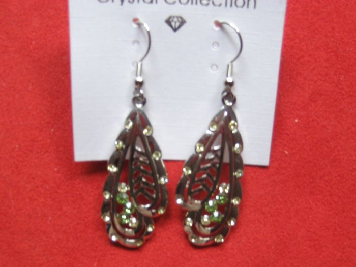 Silver Earrings with Green stones