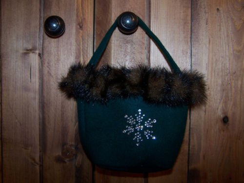 Bath and Body Works  Green Purse Bag With Furry Trim
