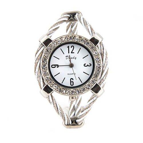 Women's Quartz Wrist Watch with Diamond Decoration (Silver)