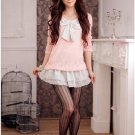 New hot sale Dresses Pink Cotton&Chiffon Unique Dress with Ribbon