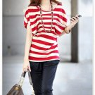 New Hot sale T-shirts Red&White Cotton Striped Chic T-shirt
