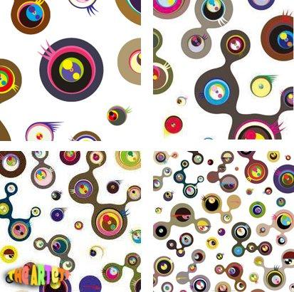 Takashi Murakami Prints Jellyfish Eyes White Set of 4