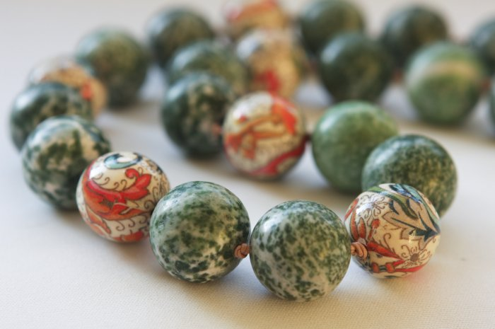 Green Jade and Paper Coated Beads Necklace