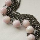 Black Gunmetal Chains and Pink Beads Bracelet