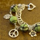 Green Tartan, Flower, Leaf and Peace Charms Bracelet
