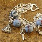 Blue Tartan and Tibetan Silver Beads Bracelet