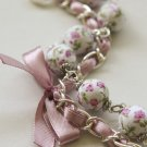 Cotton beads and lilac satin ribbon bracelet