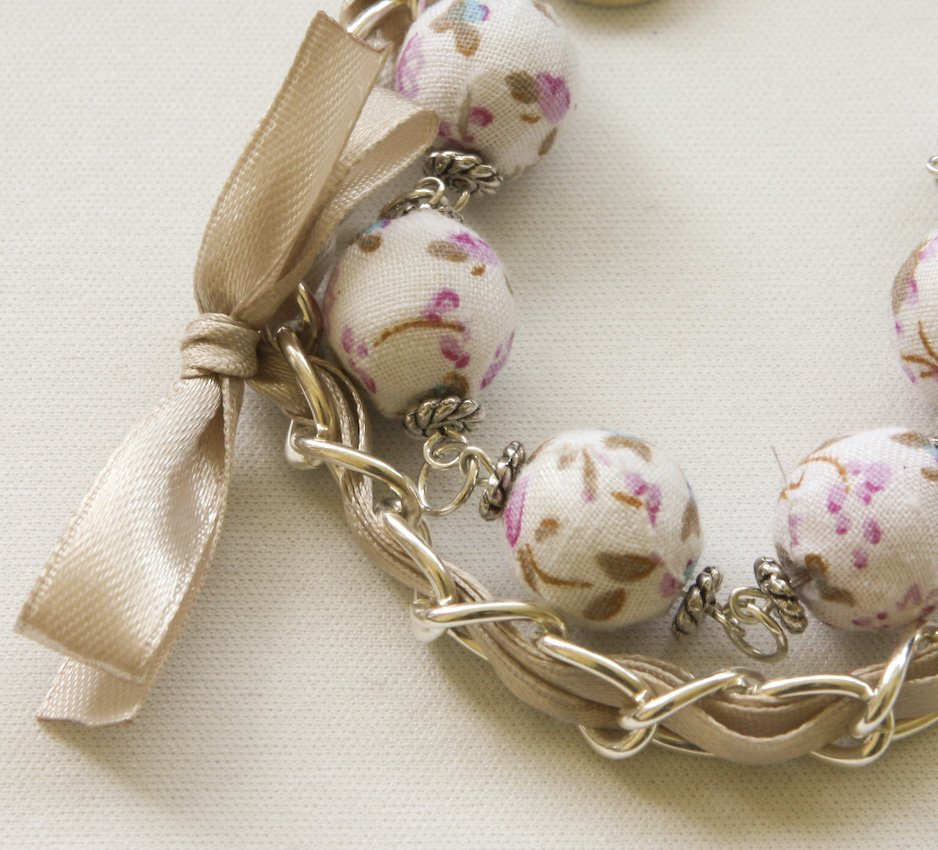 White floral cotton beads and beige satin ribbon bracelet