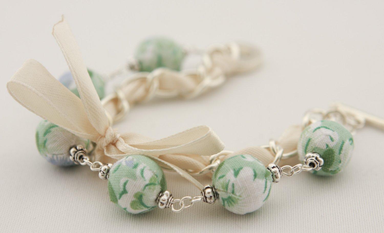 Light green floral cotton beads and beige satin ribbon bracelet