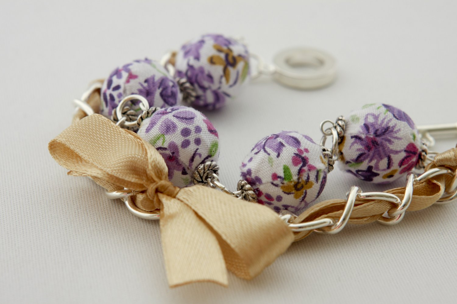 Purple cotton beads and yellow satin ribbon bracelet
