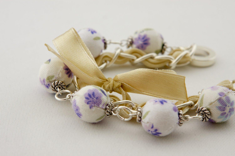 Violet cotton beads and eggshell satin ribbon bracelet
