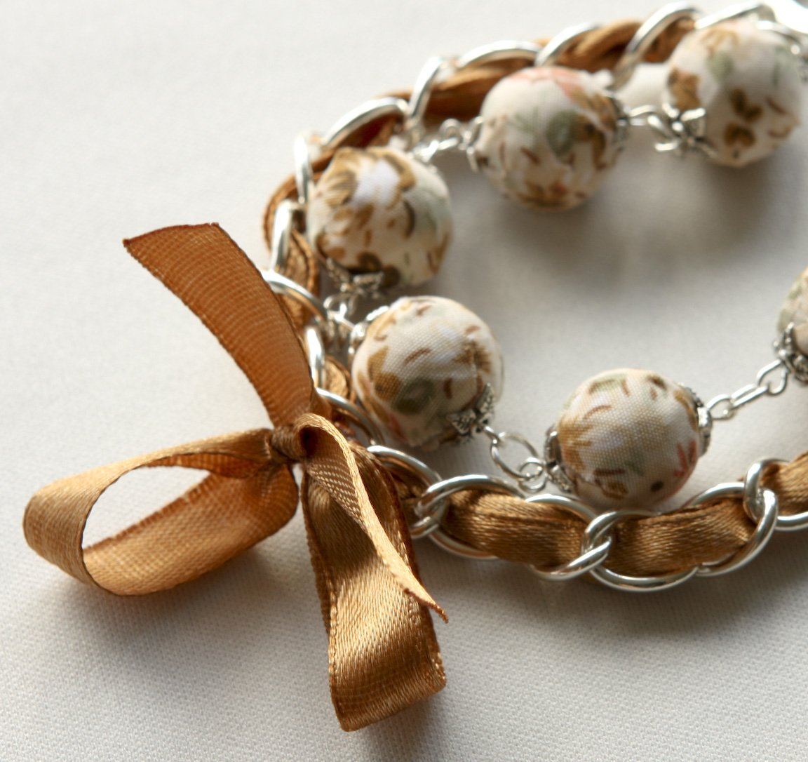 Cotton beads and brown satin ribbon bracelet