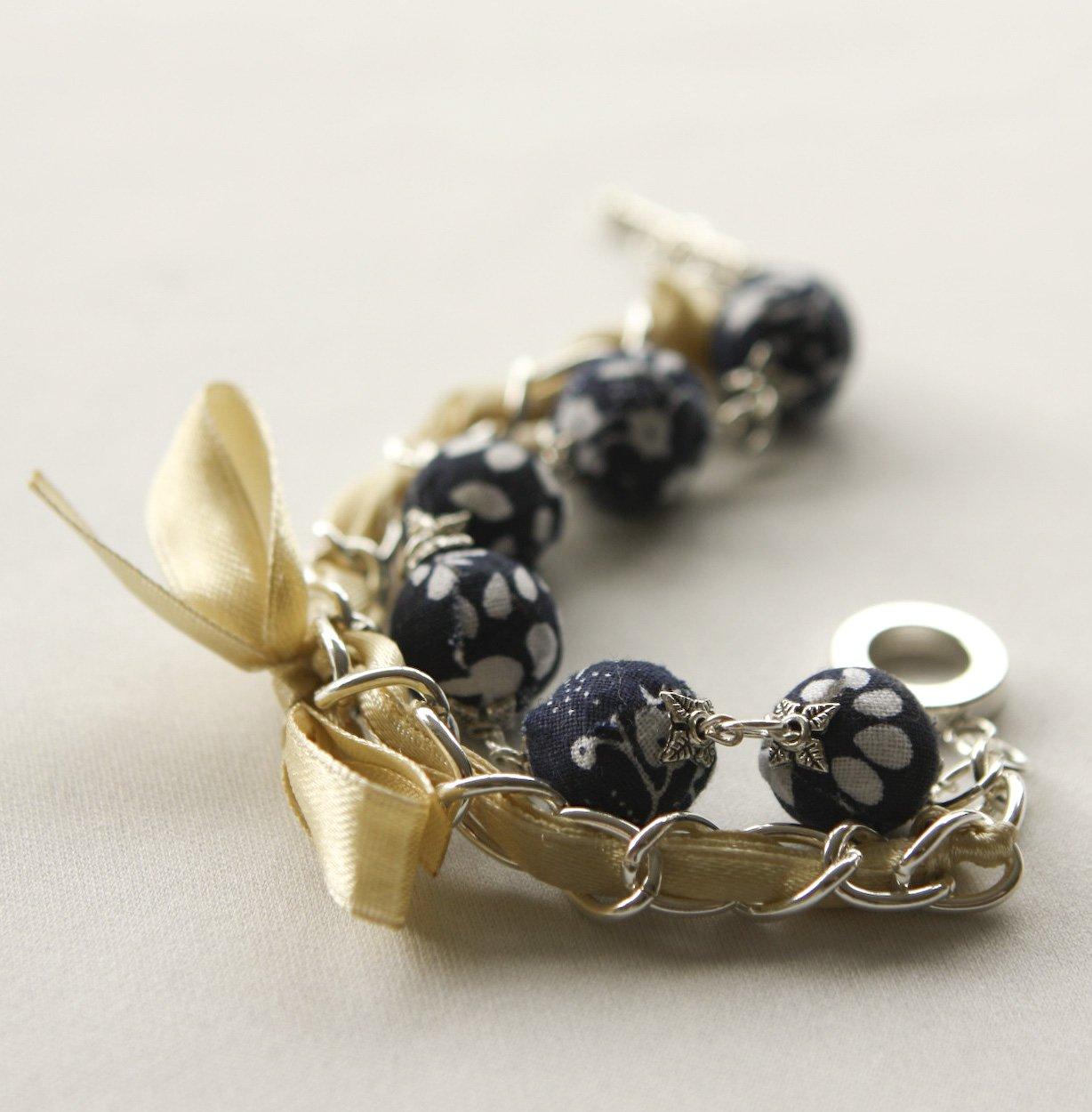 Dark blue fabric beads and yellow satin ribbon bracelet