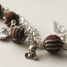 Brown Tartan and Tibetan Silver Beads Bracelet