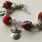 Red Tartan Beads and Angel Bracelet