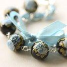 Black Satin Ribbon and Blue Roses Beads Bracelet