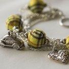 Yellow Tartan Beads and Car Charm Bracelet