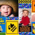 CONSTRUCTION TRUCK TONKA Photo Birthday Invitations
