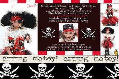 PIRATE Aye Matey birthday party Invitations Skulls Boy Girl