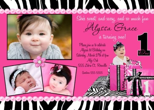 ZEBRA HOT PINK WILD CHILD SASSY DIVA BIRTHDAY INVITATION