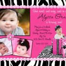 ZEBRA HOT PINK WILD CHILD SASSY DIVA BIRTHDAY INVITATION