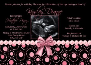 Black hot pink pearl girl ultrasound sonogram photo baby shower black hot pink pearl girl ultrasound sonogram photo baby shower invitation filmwisefo