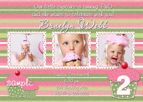 CUPCAKE CUPCAKES GIRLY FIRST BIRTHDAY INVITATIONS