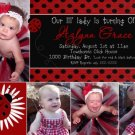 LADYBUG LADY BUG Photo Birthday Invitations Red Black Polka dots
