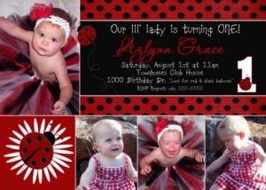 LADYBUG LADY BUG Photo Birthday Invitations Red Black Polka dots