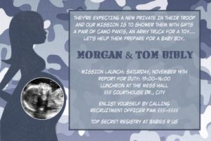 Blue Camo Camouflage Baby Shower Ultrasound Photo Invitation Army Military Marines